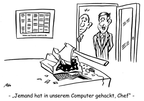 Cartoon: Computer-Cartoon No. 1 (medium) by Portraits-Karikaturen tagged cartoon,karikatur,illustration,cartoons,karikaturen,illustrationen,datenschutz,datenschützer,computer,pc,it,sicherheit,hacken,axt,monitor,büro