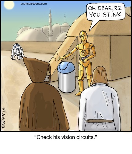Cartoon: c3p0 (medium) by noodles tagged c3p0,star,wars,luke,skywalker,obi,wan,kenobi