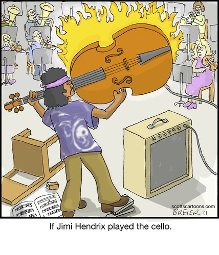 Cartoon: Jimi (medium) by noodles tagged orchestra,fire,noodles,music,cello,hendrix,jimi