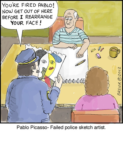 Cartoon: Pablo (medium) by noodles tagged pablo,picasso,police,artist,noodles,fired