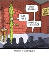 Cartoon: asparagus (small) by noodles tagged asparagus,comedy,club,heckler,stinky