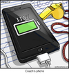Cartoon: Coachs Phone (small) by noodles tagged cell,phone,sports,110,percent,charging,charger,coach
