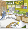 Cartoon: Grubway (small) by noodles tagged subway,birds,grubs,maggots,noodles,fast,food