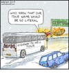 Cartoon: Highway to Hell (small) by noodles tagged buffalo,acdc,tour,bus,snow,fire