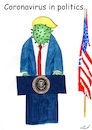 Cartoon: Donald Corona (small) by Stefan von Emmerich tagged cartoon corona virus donald trump karikatur coronavirus lyin king the lair tweets tonight vote him away in politics