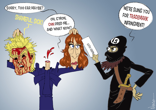 Cartoon: Beheading 2 for 1 (medium) by NEM0 tagged kathy,griffin,actress,comedian,hollywood,cnn,fake,news,prop,photoshoot,beheading,stage,staging,staged,donald,trump,president,blood,is,isis,trademark,infingment,suing,law,lawsuit,nemo,nem0,mainstream,media,msm,kathy,griffin,actress,comedian,hollywood,cnn,fake,news,prop,photoshoot,beheading,stage,staging,staged,donald,trump,president,blood,is,isis,trademark,infingment,suing,law,lawsuit,nemo,nem0,mainstream,media,msm