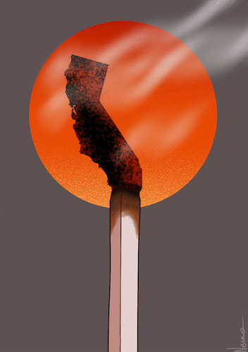 Cartoon: Cali Fires (medium) by NEM0 tagged california,wildfires,fires,wildfire,cal,fire,arson,arsonist,drought,natural,disaster,state,of,emergency,global,warming,nemo,nem0,california,wildfires,fires,wildfire,cal,fire,arson,arsonist,drought,natural,disaster,state,of,emergency,global,warming,nemo,nem0