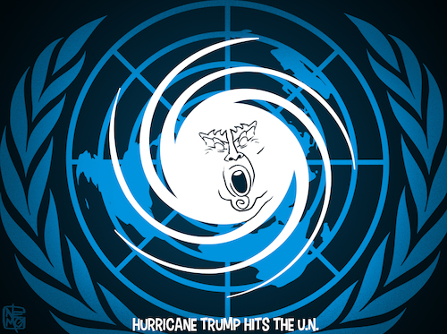 Cartoon: Hurricane Trump Hits The UN (medium) by NEM0 tagged donald,trump,speech,un,united,nations,world,hurricane,climate,axis,of,evil,north,korea,dpkr,iran,nuke,rogue,states,socialism,facism,nationalism,america,first,nuclear,threat,nemo,nem0,donald,trump,speech,un,united,nations,world,hurricane,climate,axis,of,evil,north,korea,dpkr,iran,nuke,rogue,states,socialism,facism,nationalism,america,first,nuclear,threat,nemo,nem0
