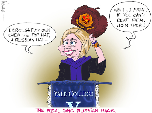 Cartoon: Russian Hack (medium) by NEM0 tagged hillary,clinton,dnc,hack,russia,russian,collusion,trump,dossier,uranium,one,fusion,gps,yale,college,speech,hat,communist,radical,left,joke,nemo,nem0,hillary,clinton,dnc,hack,russia,russian,collusion,trump,dossier,uranium,one,fusion,gps,yale,college,speech,hat,communist,radical,left,joke,nemo,nem0