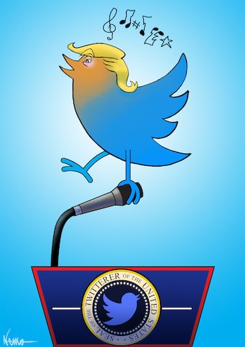 Cartoon: Twitter of the United States (medium) by NEM0 tagged donald,trump,tweet,twitter,internet,social,media,network,realdonaldtrump,communications,technology,smartphone,press,conference,journalism,journalist,nemo,nem0,donald,trump,tweet,twitter,internet,social,media,network,realdonaldtrump,communications,technology,smartphone,press,conference,journalism,journalist
