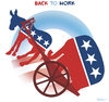 Cartoon: BACK TO WORK (small) by NEM0 tagged usa,presidential,barak,obama,democrats,republicans,congress,senate
