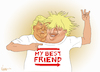 Cartoon: Best Friends Trump and Boris (small) by NEM0 tagged europe,england,eu,gb,great,britain,uk,brexit,boris,johnson,pm,potus,donald,trump,best,friends,tshirt,remain,leave,populism,nemo,nem0