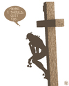 Cartoon: Jesus thinks about quitting (small) by NEM0 tagged sin,death,bible,benedict,xvi,pope,sacrifice,god,cross,jesus,christ,papacy,vatican,aids,homosexuality,scandals,crisis,christian,catholic,rome