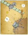 Cartoon: Philae meets The Little Prince (small) by NEM0 tagged rosetta,little,prince,exupery,philae,esa,eu,space,program,comet,probe,exploration,technology,science