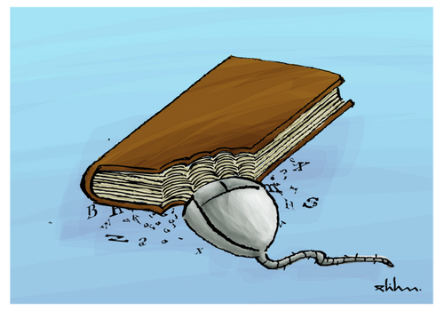 Cartoon: Book (medium) by elihu tagged book,mouse,web,computer,internet