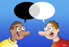 Cartoon: Dialogue (small) by elihu tagged racism,black,and,white,dialogue