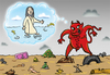 Cartoon: Dirty Water (small) by elihu tagged seas,waters,pollution,jesus,evil,environment