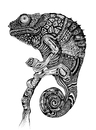 Cartoon: Chameleon (small) by Battlestar tagged animal tiere chamäleon chameleon blackandwhite drawing zeichnung illustration nature natur exotic