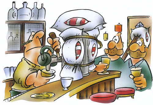 Cartoon: silent pub (medium) by HSB-Cartoon tagged pub,inn,local,beer,alcohol,waiter,waitress,pillow,guest,kneipe,lokal,wirtschaft,gaststätte,kissen,bier,schnaps,alkohol,wirt,gastwirt,zapfhahn,ruhe,pub,inn,local,beer,alcohol,waiter,waitress,pillow,guest,kneipe,lokal,wirtschaft,gaststätte,kissen,bier,schnaps,alkohol,wirt,gastwirt,zapfhahn,ruhe