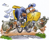 Cartoon: postman (small) by HSB-Cartoon tagged postman postbote fahhrad bike bicycle dog dogs letter post brief hund hunde kampfhund pedelec hundebiss cartoon airbrush