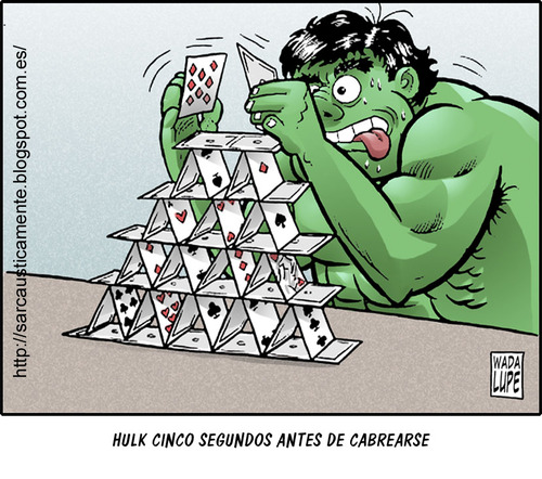 Cartoon: be careful (medium) by Wadalupe tagged hulk,comic,angry,cartoon,hobby,relax