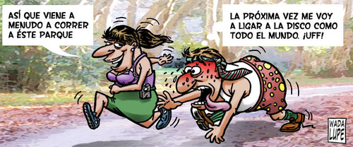 Cartoon: deporte de riesgo (medium) by Wadalupe tagged deporte,ligar,flirt,dating,footing,parque