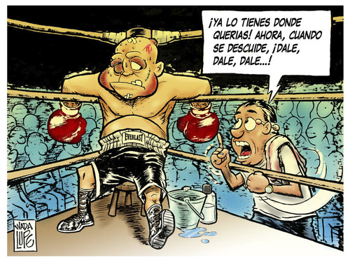 Cartoon: optimismo (medium) by Wadalupe tagged boxeo,ring,deporte,asalto,ko,optimismo,manager