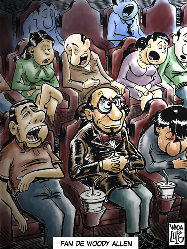 Cartoon: woody allen fan (medium) by Wadalupe tagged cinema,cine,movie,director,entertainment,scripter,show,fun,fan,life,laugh