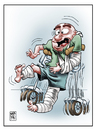 Cartoon: Descalabro (small) by Wadalupe tagged hospital,muletas,recuperacion,auxilios,urgencias