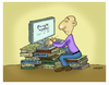 Cartoon: The books and technology (small) by ismailozmen tagged search engine technology computer books encyclopedia