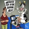 Cartoon: An unexpected item! (small) by campbell tagged tesco,supermarket,cow,shopping