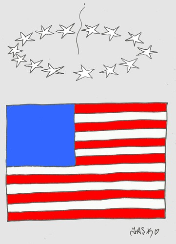 Cartoon: crisis (medium) by yasar kemal turan tagged finance,economy,america,us,crisis,flag
