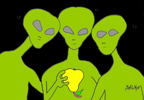 Cartoon: great review (medium) by yasar kemal turan tagged great,review,ufo,love,pears,alien