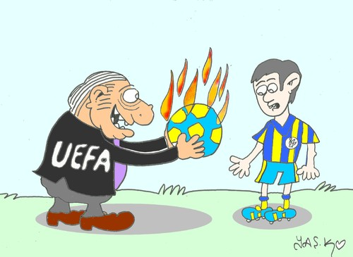 Cartoon: injustice (medium) by yasar kemal turan tagged fire,hell,ball,injustice,fenerbahce,uefa
