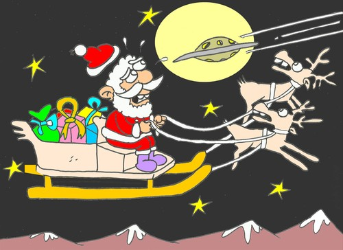 Cartoon: witnesses (medium) by yasar kemal turan tagged deer,christmas,father,ufo,witness