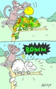 Cartoon: prank (small) by yasar kemal turan tagged ribaldry,chameleon,monkey,joke,colors