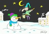 Cartoon: suddenly (small) by yasar kemal turan tagged suddenly,snowman,witch,broom,love