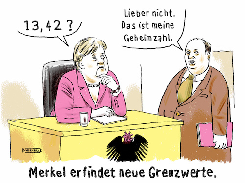 Cartoon: Merkels Grenzwerte (medium) by Thomas Kuhlenbeck tagged cartoon,merkel,neue,grenzwerte,neu,erfinden,ausdenken,corona,virus,coronamaßnahme,maßnahmen,lockdown,shutdown,inzidenz,inzidenzwert,helge,braun,kanzlerin,kanzleramt,cartoon,merkel,neue,grenzwerte,neu,erfinden,ausdenken,corona,virus,coronamaßnahme,maßnahmen,lockdown,shutdown,inzidenz,inzidenzwert,helge,braun,kanzlerin,kanzleramt