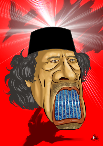 Cartoon: Wanted (medium) by aungminmin tagged gaddafi