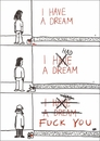 Cartoon: Evolution of a dream (small) by Jani The Rock tagged dream,optimism,pessimism,aging,nihilism,time,fuckyou