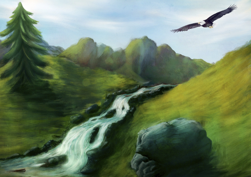 Cartoon: Eagle (medium) by alesza tagged eagle,mountain,tree,nature,landscape