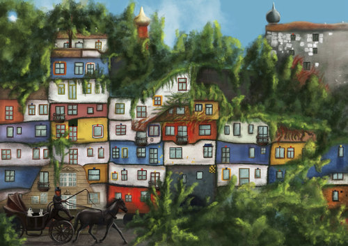 Cartoon: Hundertwasserhaus (medium) by alesza tagged hundertwasserhaus,hundertwasser,vienna,wien,fantasy,concept,conceptual,illustration,drawing,painting,art,colorful,colourful