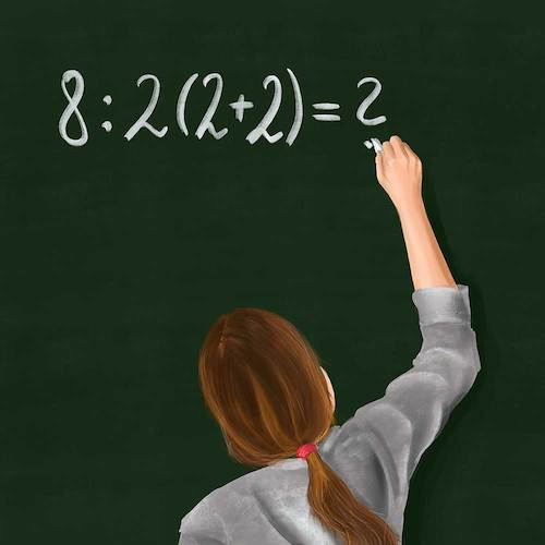 Cartoon: Maths - Who knows the answer? (medium) by alesza tagged maths,mathematics,digital,painting,illustration,school,students,pupil,learning,blackboard