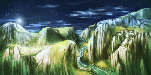 Cartoon: Night Scenery (medium) by alesza tagged landscape,nature,painting,mountain,range,night,sky,scenery,scene,twilight,nightfall,river,outdoors,hiking,wanderlust