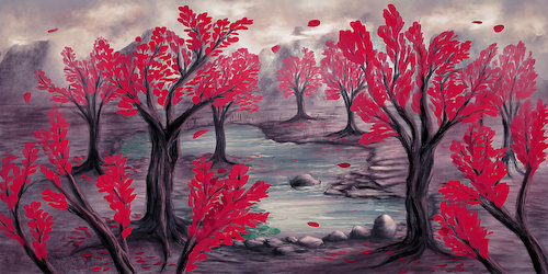 Cartoon: Red trees and turquoise pond (medium) by alesza tagged digital,painting,landscape,ipadart,nature,trees,pond,procreate