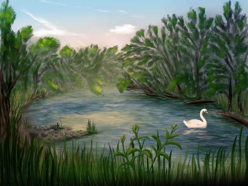 Cartoon: Swan (medium) by alesza tagged digital,painting,illustration,swan,river,water,lake,pond,nature,landscape,outdoors,beauty