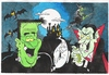 Cartoon: Spooky!! (small) by fieldtoonz tagged halloween,dracula,ghost,bats,frankinstein,whitch,haunted,house