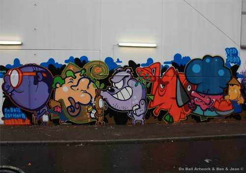 Cartoon: Backstreet Boys (medium) by Buzz 186 tagged artworks,bail,on,street,art,urban,cartoon,characters,graffiti,186,buzz