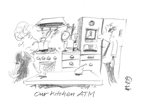 Cartoon: Kitchen ATM (medium) by helmutk tagged business