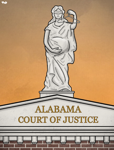 Cartoon: Alabama courthouse (medium) by Tjeerd Royaards tagged pregnancy,justice,usa,woman,women,child,abortion,ban,law,forbidden,pregnancy,justice,usa,woman,women,child,abortion,ban,law,forbidden